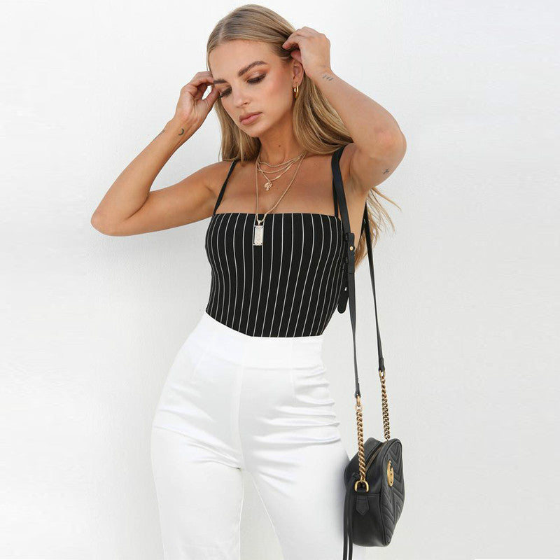 Buy Cheap Straps stripe slash neck backless bodycon bodysuit summer women Online - SunLify