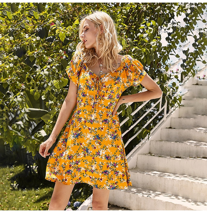Woman Dresses Summer Casual Yellow Flower Floral Beach Dress Knee Length Mori Girls Puff Sleeve  Trendy Clothes For Women - SunLify
