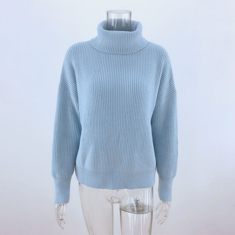 Buy Cheap Women Sweaters Autumn Winter Loose Solid Blue Long Sleeve Tops Turtleneck Knitted Pullover Clothes  Fall Sweaters For Women Online - SunLify