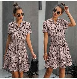 Dress Women Leopard Casual Black Summer Ruffle Mini Dresses Buttons Ladies Purple Waisted Fitted Clothing  Womens Clothes - SunLify