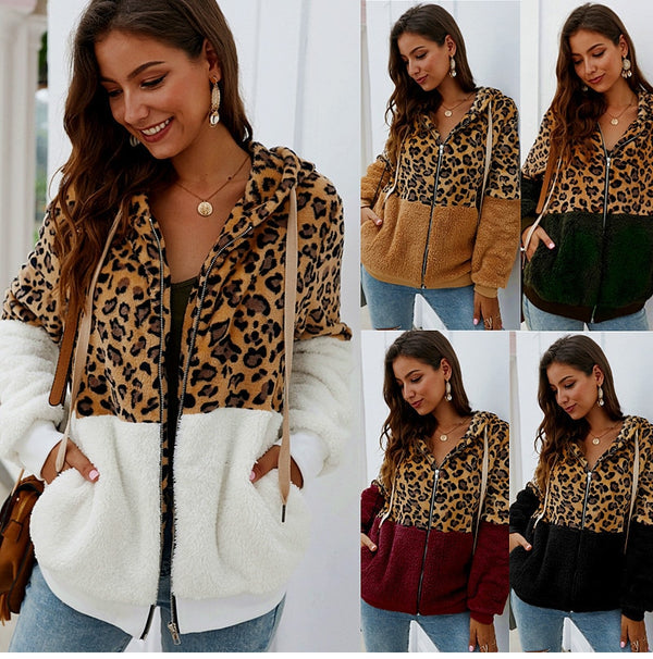 Lossky Sweatshirt Tops Women Leopard Stitching Zip Up Hoodies Ladies Long Sleeve Warm Hoody  Fall Winter Pastel Coat Clothes - SunLify