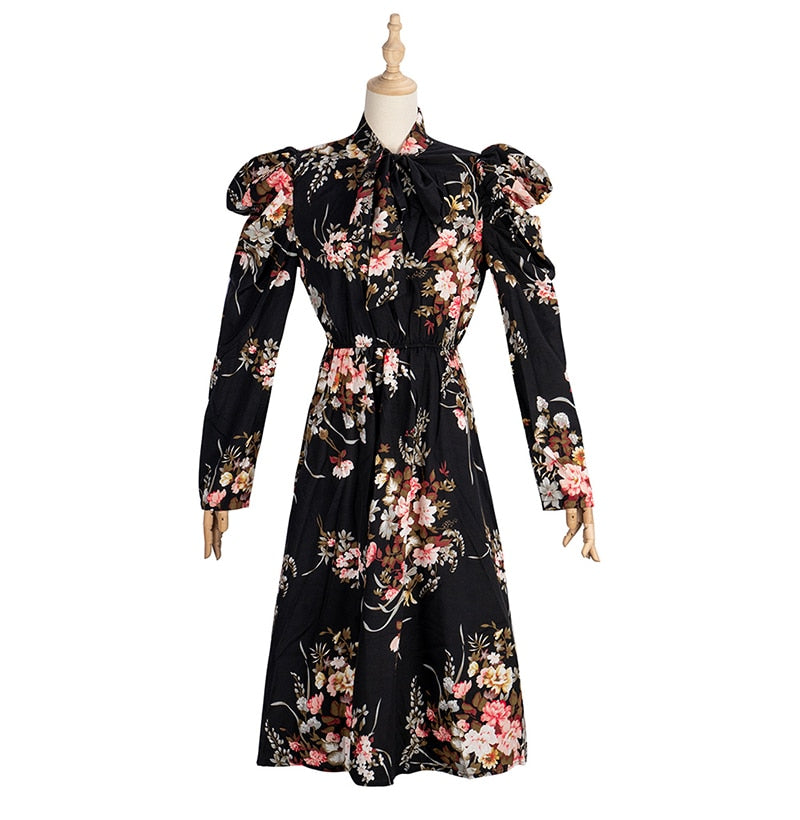 Buy Cheap Woman Long Dress Vintage Floral Flower Long Sleeve Autumn Clothes Elegant Ladies Black Puff Sleeve Bow Dresses New Arrival Online - SunLify
