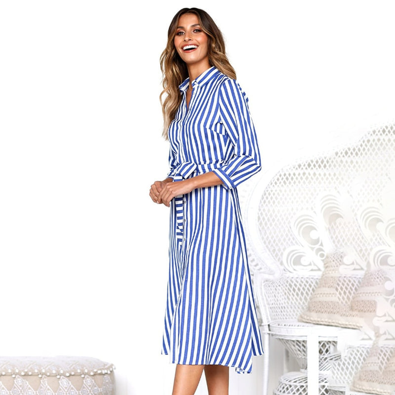 Long Dress Woman Autumn Spring Sashes Slim Fitted Casual Blue Striped Buttons Shirt Dresses Leisure  Fall Clothes For Women - SunLify