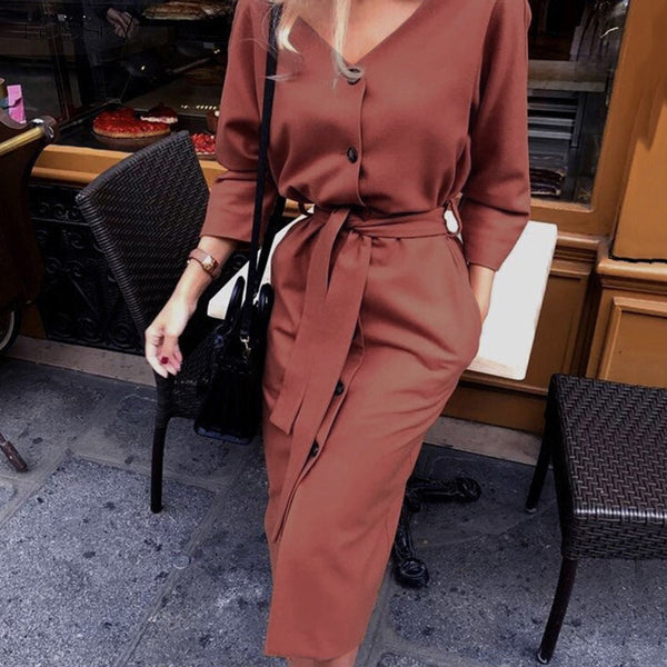 Long Dress Autumn Spring Elegant Office Ladies Long Sleeve Clothes Casual Pure Black Sashes Button Up Woman Dresses  Fashion - SunLify