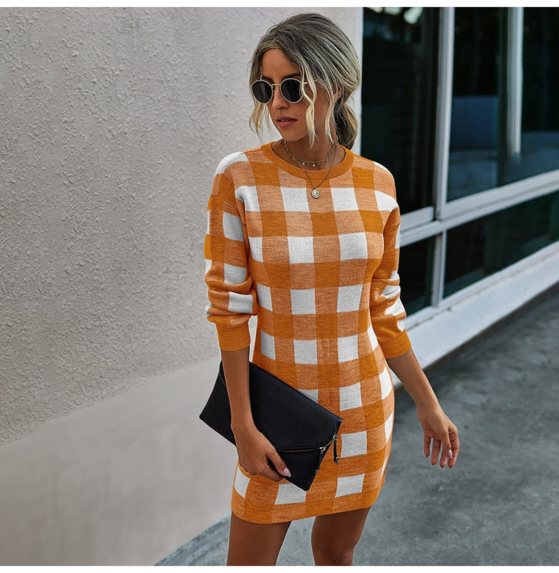 Buy Cheap Sweater Dress Women Autumn Winter Elegant Office Plaid Long Sleeve Knit Clothes Slim Fit Black Ladies Dresses New Arrival Online - SunLify