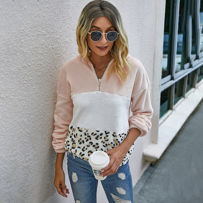 Autumn Winter Sweatshirt Fashion Pink Stitching Leopard Print Patchwork Zip Up Tops Pullover Pastel Clothes For Women  Fall - SunLify