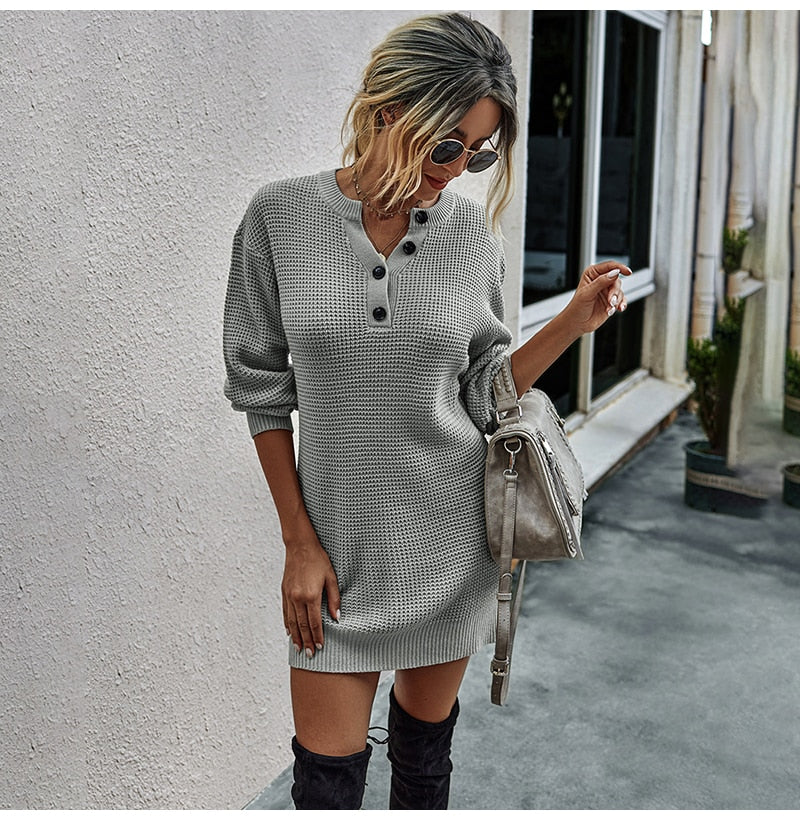 Buy Cheap Sweater Dresses Women Autumn Winter Long Sleeve Knitted Clothes Casual Ladies Pure Black Button Slim Fit Dress Fall  Fashion Online - SunLify