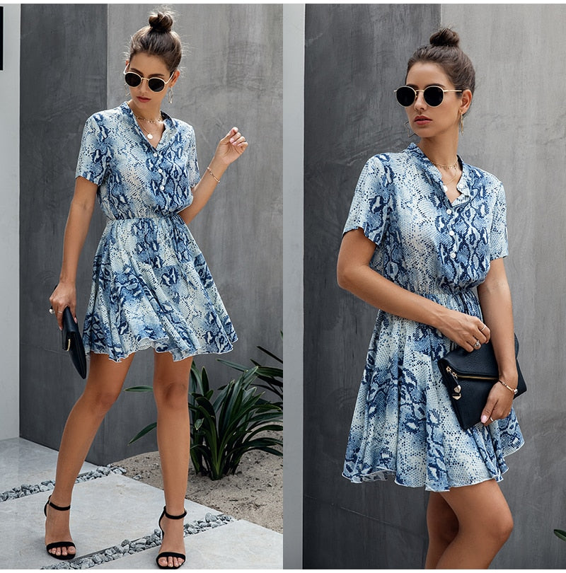 Lossky Women Cotton Mini Dress Fashion Summer Plaid Snake Short Sleeve Casual Ruched Short Nice Shirt Dress Clothes Elegant - SunLify