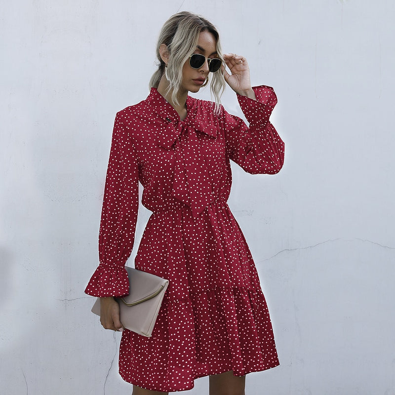 Chiffon Dresses Woman Autumn Spring Dot Print Ruched Slim A Line Womens Clothes Casual Long Sleeve Bow Dress Fall  Fashion - SunLify