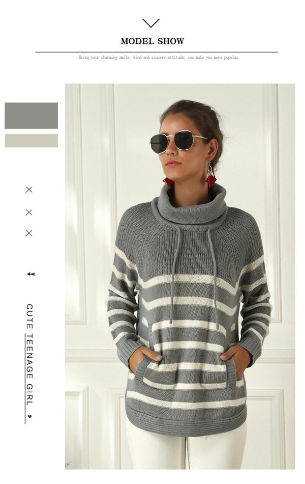 Buy Cheap Lossky Women Sweater Striped Turtleneck Autumn Winter Warm Tops Casual Clothes Pull Femme Long Sleeve Drawstring Pullovers Online - SunLify