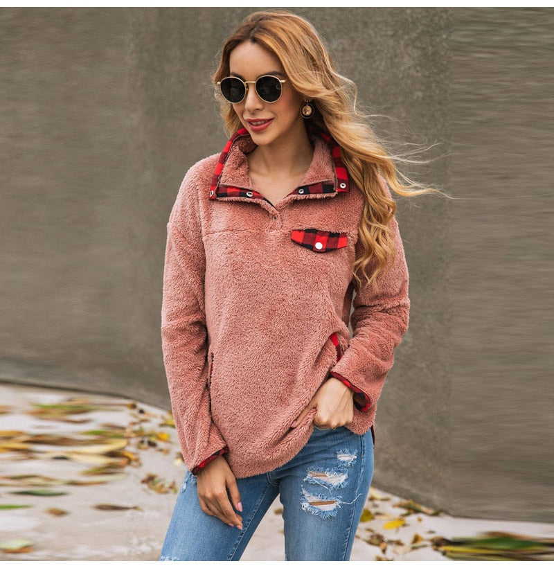 Buy Cheap Lossky Patchwork Teddy Sweatshirt Women Autumn Winter Plush Warm Tops leisure Ladies Sweatshirts Clothing  Female Online - SunLify
