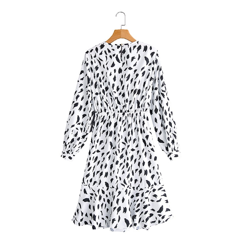 Women Dresses Spring Autumn Long Sleeve Casual Leopard Print Ruffle White Fitted Waist Clothing Fashion  Dress For Women - SunLify