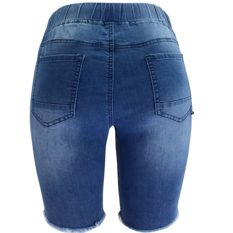 Buy Cheap New Fashion Ripped Knee Length Denim Shorts Women Elastic Drawstring Mid Waist Biker Short Jeans Women Summer  Casual Shorts Online - SunLify