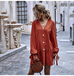 Woman Dress Loose Casual Long Sleeve Solid Color Fitted Dresses Trendy Button Bowknot Tied Ruched Clothes  Autumn Spring - SunLify