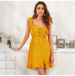 Dress Women Summer Elegant Ruffle Stitching Backless Tank Mini Dresses Button Yellow Fitted Clothing  Women Clothes Vacation - SunLify