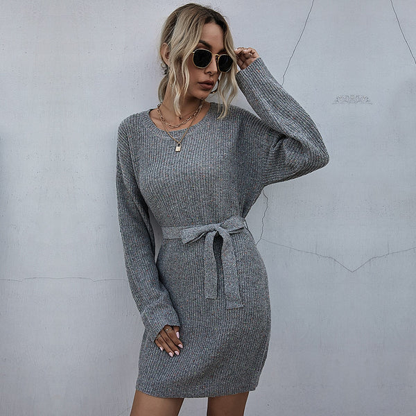 Sweater Dress Autumn Winter Elegant Ladies Solid Color Long Sleeve Sashes Loose Fit Clothes Casual Knit Dresses For Women - SunLify