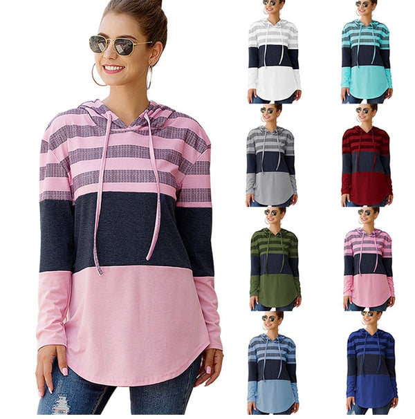 Lossky Women Hoodies Tops Autumn Patchwork Print Pullover Ladies Long Sleeve Hoody Casual Fall Pink Clothes Sweatshirts Lace-up - SunLify