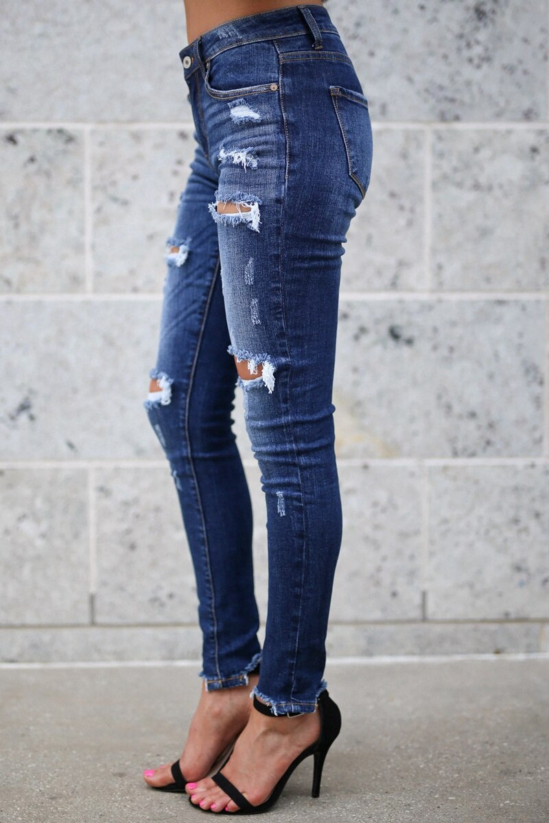 Fashion Bleached Tassel Ripped distressed jeans Women Cotton Denim Slim elastic Pants Vintage Pencil Skinny trousers jeans - SunLify