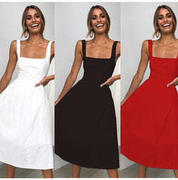 Lossky Casual Solid Dress Women Midi Long Summer Sexy Backless Slip Dresses Ruched Fashion Elegant Party Clothes Leisure - SunLify