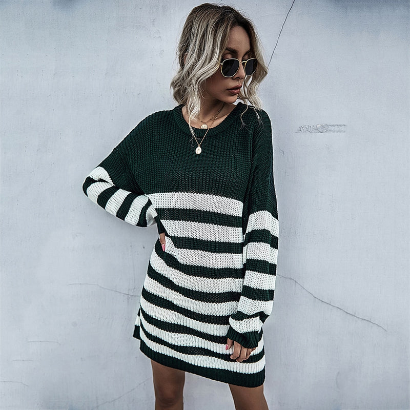 Buy Cheap Sweater Dress Women Autumn Winter Casual Patchwork Striped Long Sleeve Knitted Womens Clothes Loose Fitted Dresses  Fashion Online - SunLify