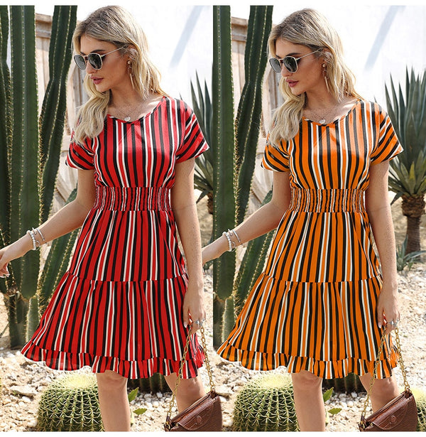 Womens Dresses Summer Casual Stitching Striped Ruffle Sundress Ladies Waisted Fitted Clothing  Trendy Red Dresses For Women - SunLify
