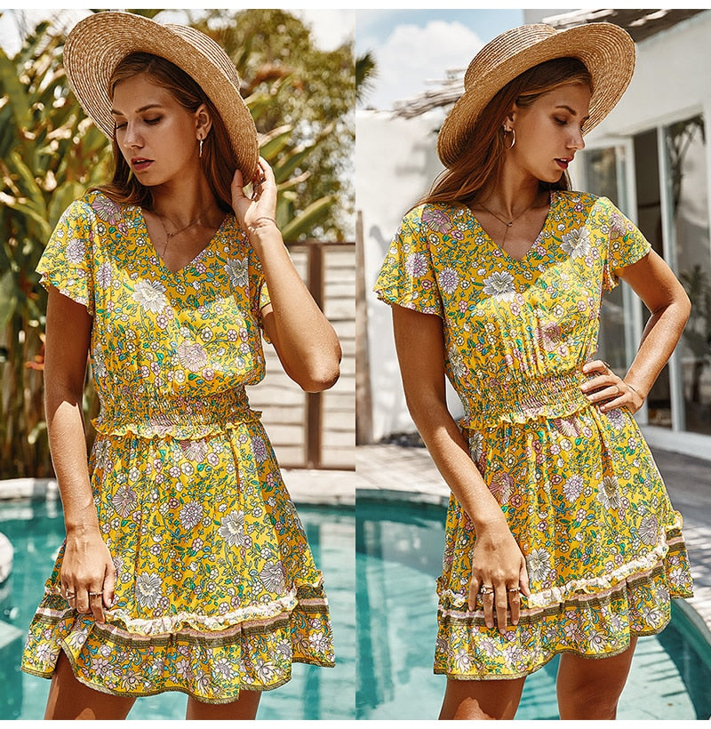 Boho Dress Women Floral Print Summer Waisted Mini Short Sundress Casual Flower Pink Fitted Clothing Bohemian  Fashion Yellow - SunLify