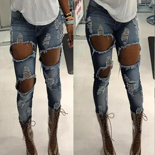 Buy Cheap High Waist distressed calca jeans Boyfriend Jeans For Women Trousers Pencil Pants ladies mom Denim tassel Ripped skinny jeans Online - SunLify