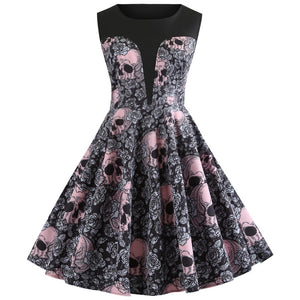 Buy Cheap Vrouwen Vintage Jurk Halloween Jurk Mouwloze Rockabilly Party Jurken Online - SunLify