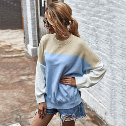 Knitted Sweater Autumn Winter Green Patchwork Color Ladies Long Sleeve Jumpers Pullover Sweaters Tops Women Fashion Clothes - SunLify