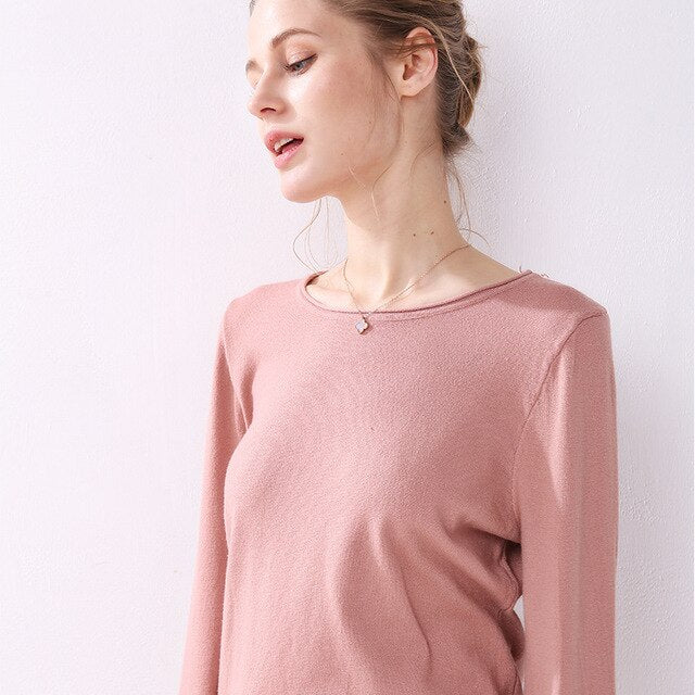 Buy Cheap Knitted Sweater Autumn Winter Women Pure Pink Long Sleeve Tops Fashion Ladies Pullover Basic Sweaters Fall  Womens Clothing Online - SunLify