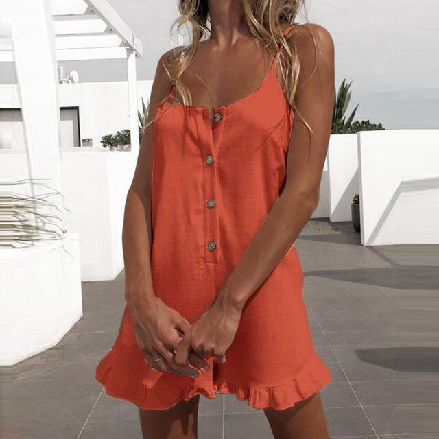 Short Rompers Jumpsuit Women Backless Spaghetti Strap Button Ruffled Solid Playsuits Elegant Casual Summer Black Playsuit