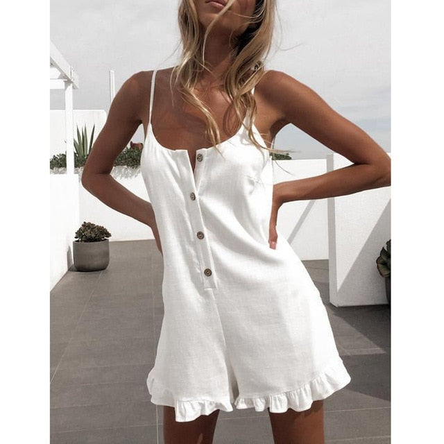 Short Rompers Jumpsuit Women Backless Spaghetti Strap Button Ruffled Solid Playsuits Elegant Casual Summer Black Playsuit - SunLify