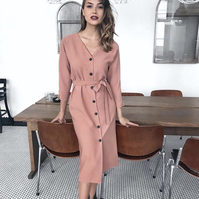 Buy Cheap Long Dress Autumn Spring Elegant Office Ladies Long Sleeve Clothes Casual Pure Black Sashes Button Up Woman Dresses  Fashion Online - SunLify