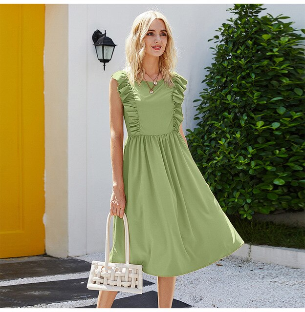 Buy Cheap Long Dress Elegant Women Ruffle Patchwork Ruched Sleeveless Tank Midi Dresses Summer Casual Ladies Pure Black Clothing  Pink Online - SunLify