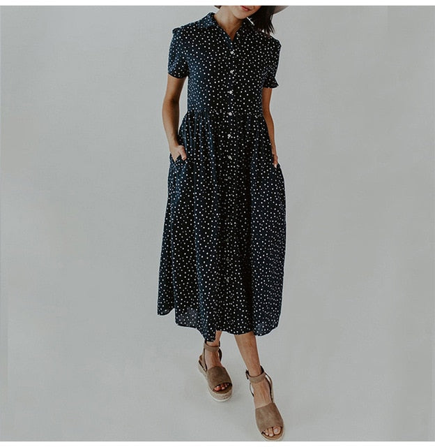 Long Dress Summer Vintage Dots Print Buttons Shirt Dresses White Casual Plus Size Women 4xl Loose Midi Clothes Black  Retro - SunLify