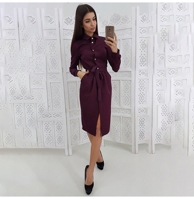 Buy Cheap Long Dress Women Autumn Spring Casual Office Ladies Solid Green Long Sleeve Button Up Shirt Dresses Clothes  Fall Fashion Online - SunLify