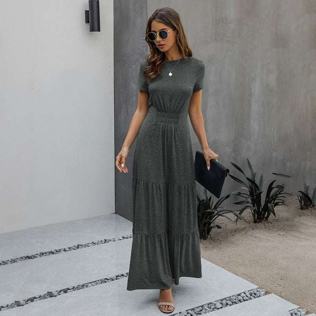 Long Robes T-shirt Dress Women Elegant Ruched A-Line Dresses Casual Ladies Summer Fitted Clothing  Maxi Dresses For Women - SunLify