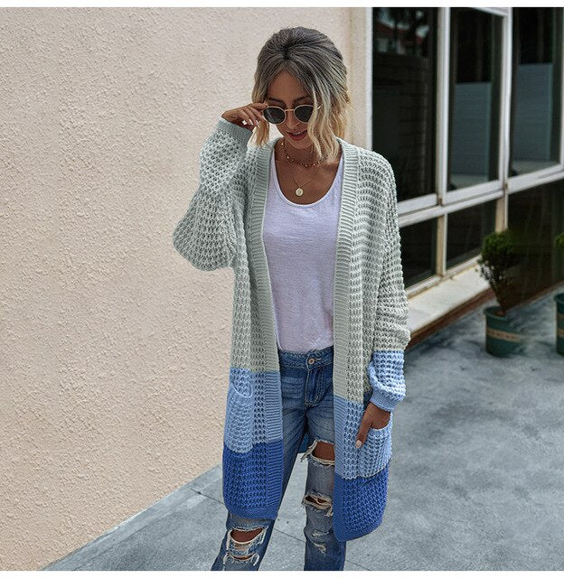 Long Sweater Cardigan Women Casual Long Sleeve Knitted Cardigans Tops Warm Autumn Winter Green Womans Clothes Fall  Fashion - SunLify