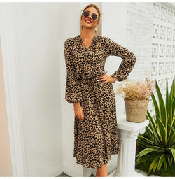 Lossky Autumn Dress Women Leopard Printed Long Sleeve V Neck Midi Dress Long Ladies Lace-Up Slim Clothing Vestido Elegant - SunLify
