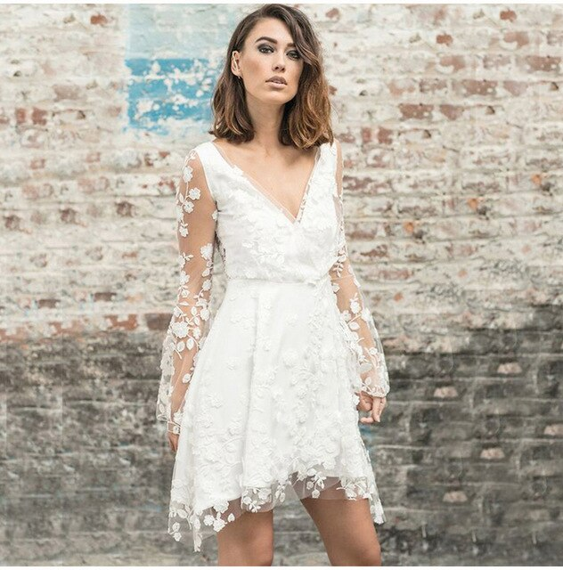Buy Cheap Lossky Party Dresses Women Long Sleeve Sexy Short Mini Transparent Lace Embroidery Dress Nice Summer Beach Clothes Elegant Online - SunLify