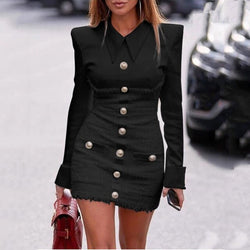 Buy Cheap Lossky Plus Size Dress Women Autumn Winter Long Sleeve Pocket Office Short Mini Clothes Black  Vestido Feminino High Quality Online - SunLify