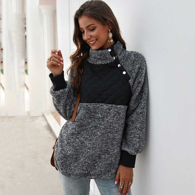 Lossky Sweatshirts Women Long Sleeve Patchwork Color Fahsion Autumn Winter Pullover Black Ladies Plush Warm Tops Clothing - SunLify