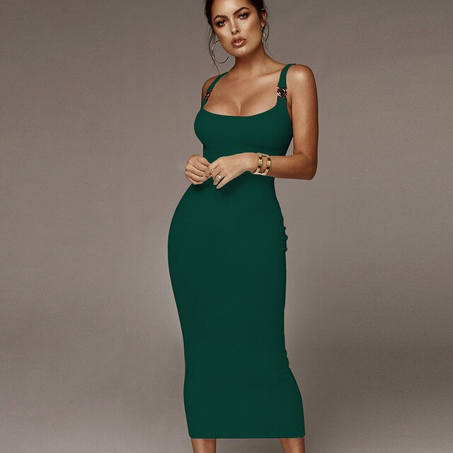 Lossky Tight Dress Women Sexy Strap Backless Spring Long Black Clothes Ladies Pit Knit Midi Party Dresses Cotton  Elegant - SunLify