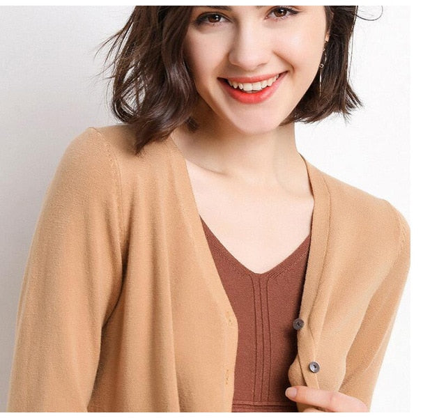 Lossky Women Knitted Sweater Cardigan Korean Style V Neck Autumn Long Sleeve Coat Female Red Black Wild Ladies Clothing Minimali - SunLify