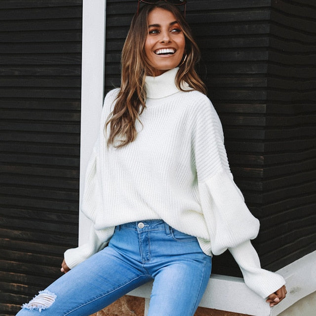 Buy Cheap Lossky Women Knitted Sweater Turtleneck Long Sleeve Tops Autumn Winter Leisure Yellow Loose Pullovers Soft Minimali Sweater Online - SunLify