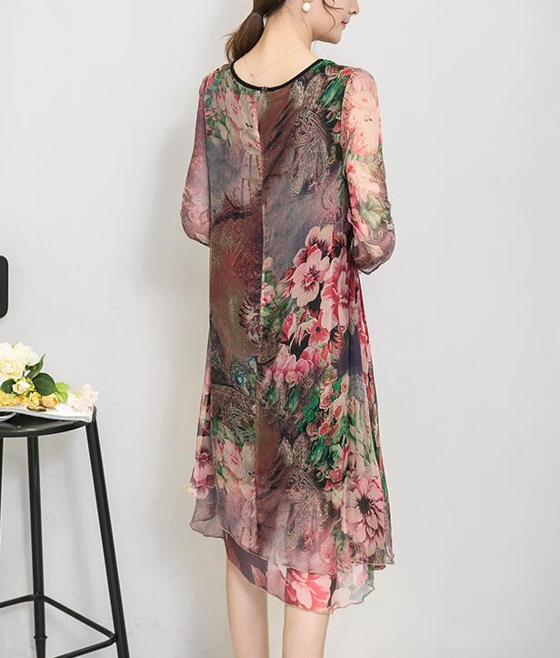 Buy Cheap Loose Chiffon Dress - Floral Print Spring Dark Blue Online - SunLify