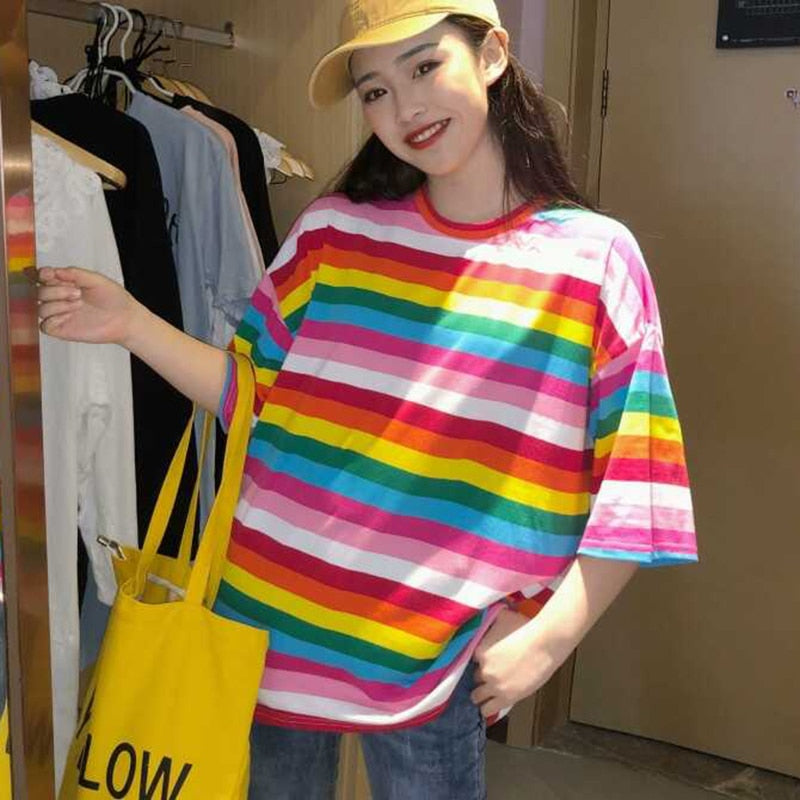 Buy Cheap Women Rainbow Striped Tops Summer Short Sleeve Korean Punk T-shirt Online - SunLify