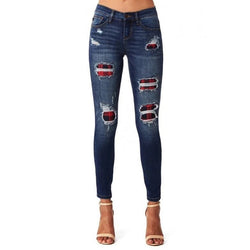 Ripped Holes Patchwork Denim jeans Autumn Women high waist Retro Skinny Pencil jeans lady Casual Trousers Stretch Pant plus size - SunLify