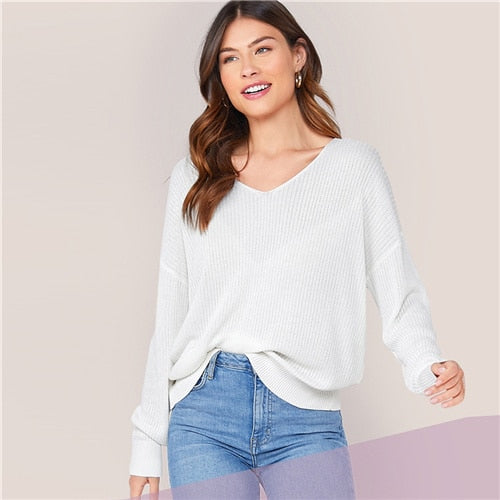 Buy Cheap White V Neck Drop Shoulder Knit Sweater Long Office Ladies Sweaters Online - SunLify