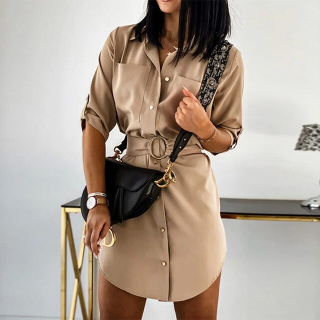 Buy Cheap Shirt Dress Women Autumn Winter Elegant Office Metal Button Up Sashes Solid White Mini Dresses New Arrival  Womens Clothing Online - SunLify